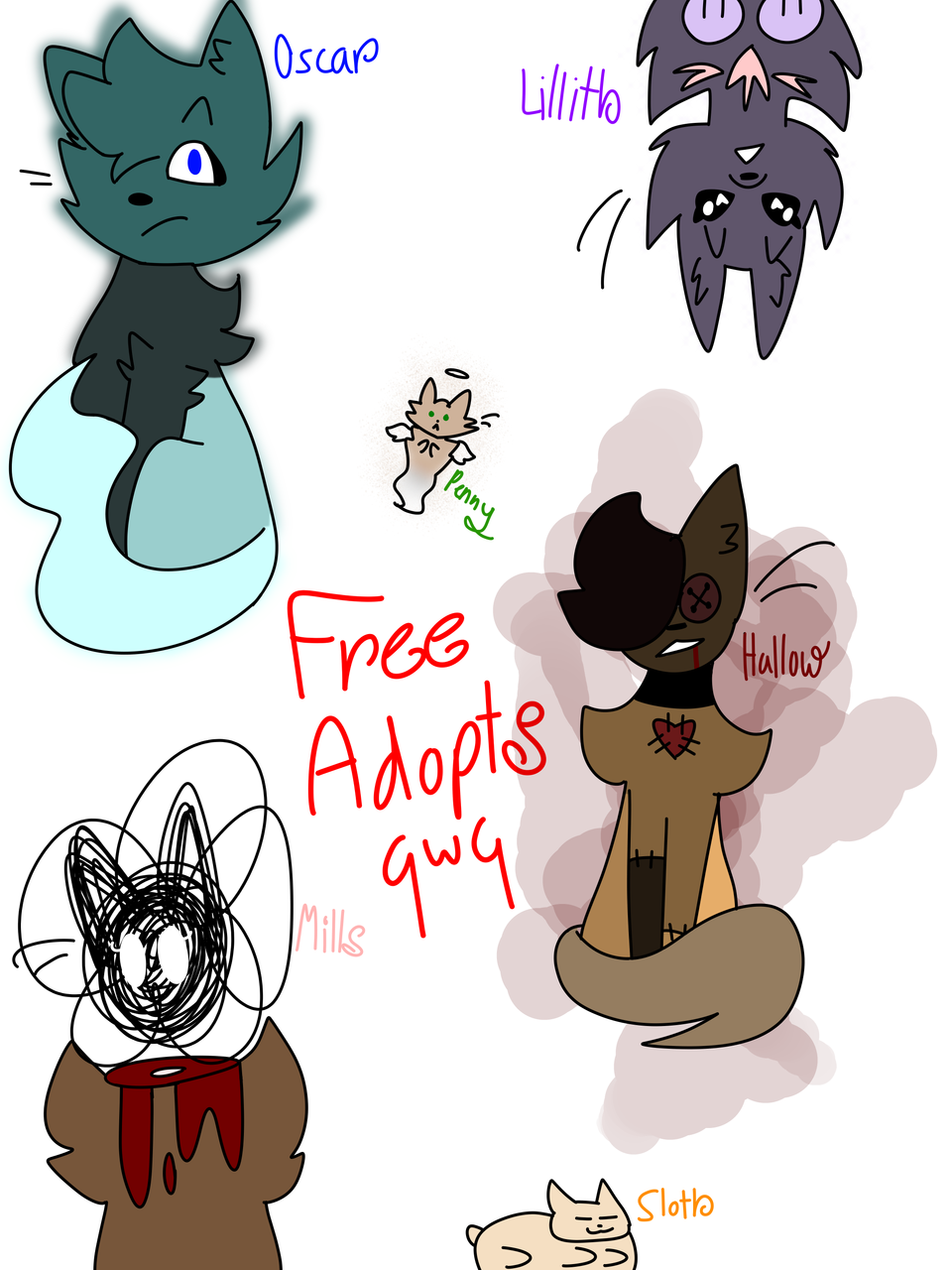 free adopts I made at 1 am Illust of Thunderstar_qwq medibangpaint