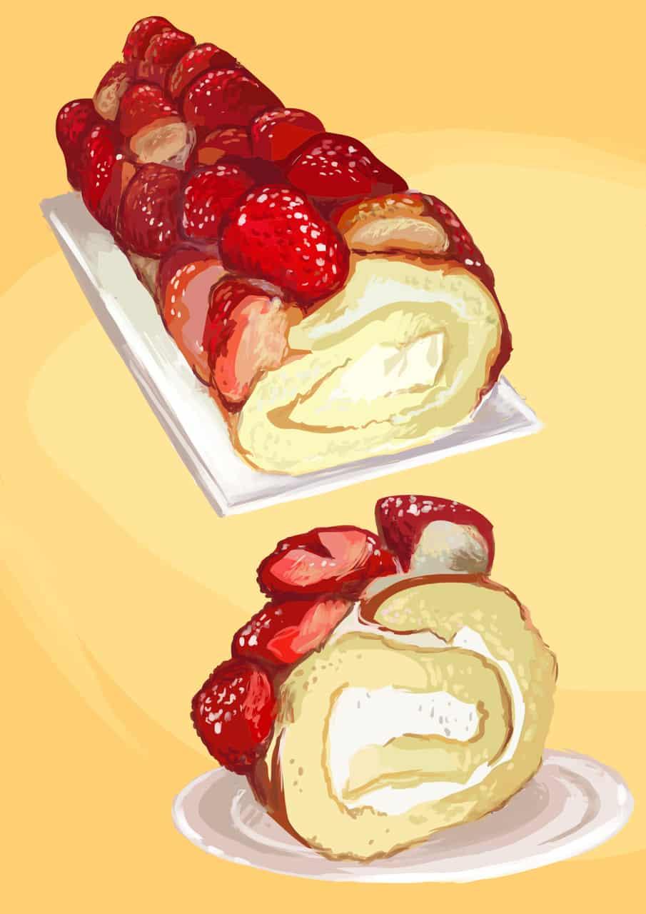 Arrollado de Frutillas con Crema Illust of Eliana Mauceri October2020_Contest:Food Frutilla food POSTRES comida