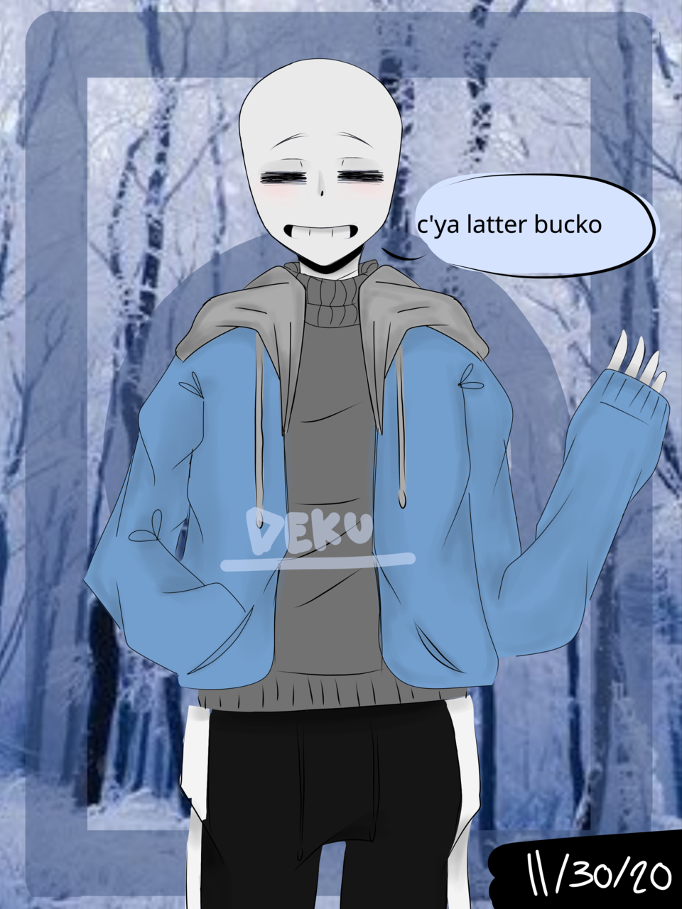 Sans says bye | plz read desc qwq Illust of Dekuchan_336(crazy mode?) medibangpaint Sans anime byebye SansTheSkeleton Seeyoulater nwn