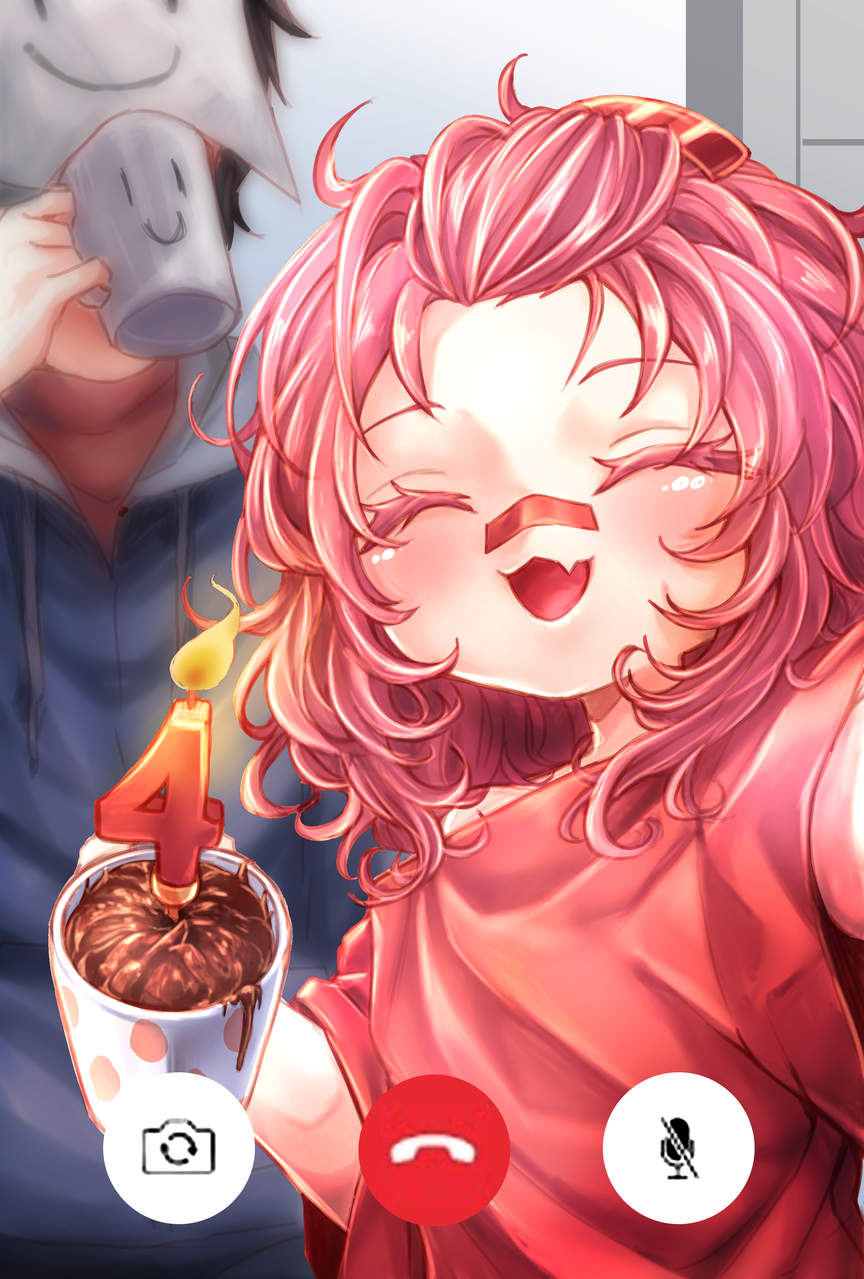 Home B'Day Party Illust of AkiHaru red girl stayathome phone illustration birthday