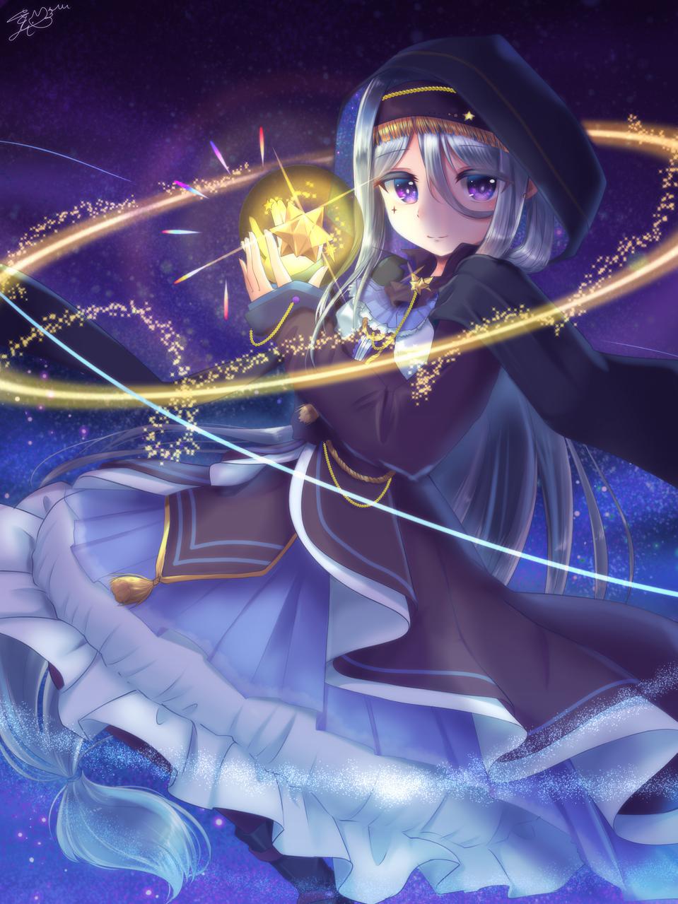 プラネタリウム Illust of 夢羽 結 medibangpaint girl star oc space 銀髪