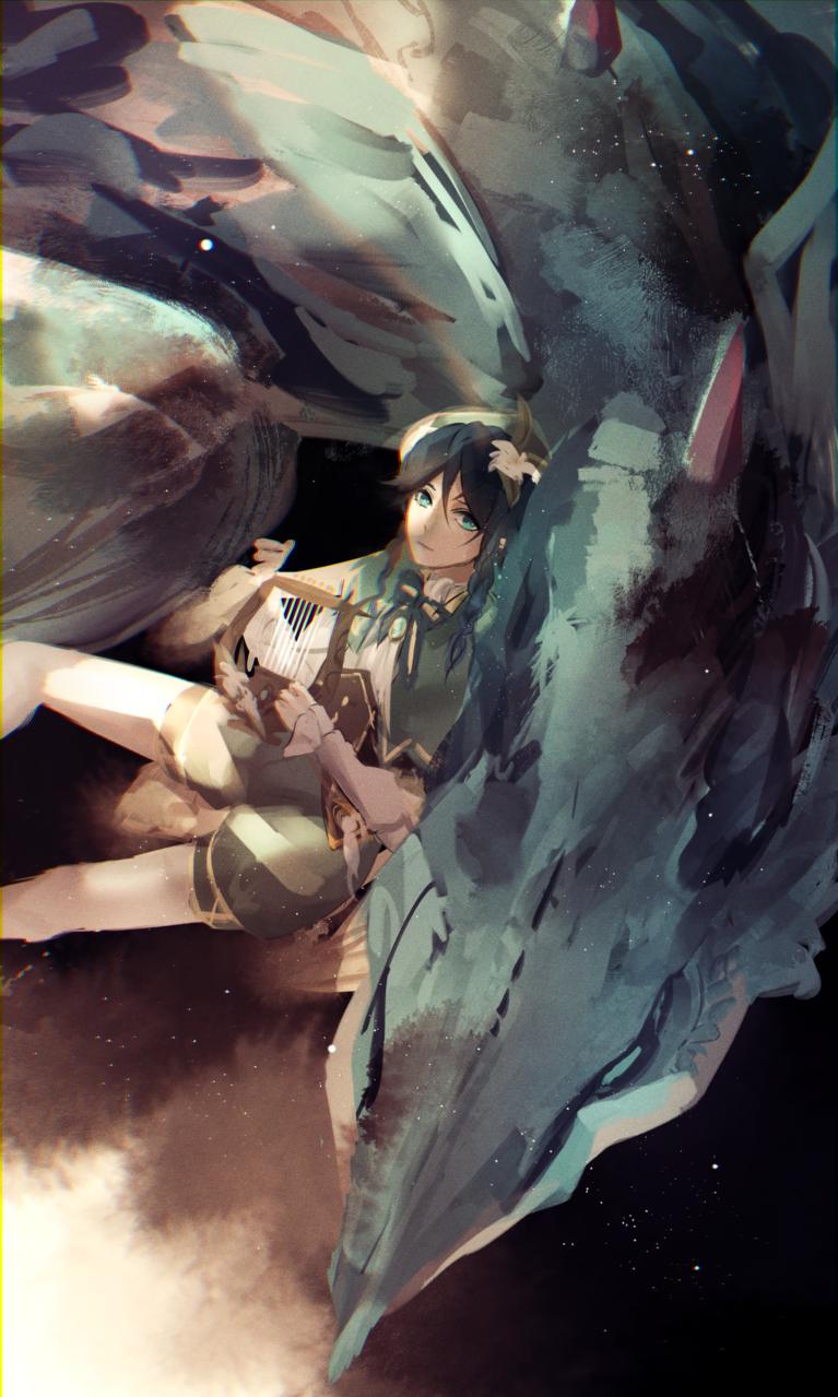 ウェンティとトワリンに無限の可能性を感じてる Illust of みやび GenshinImpact