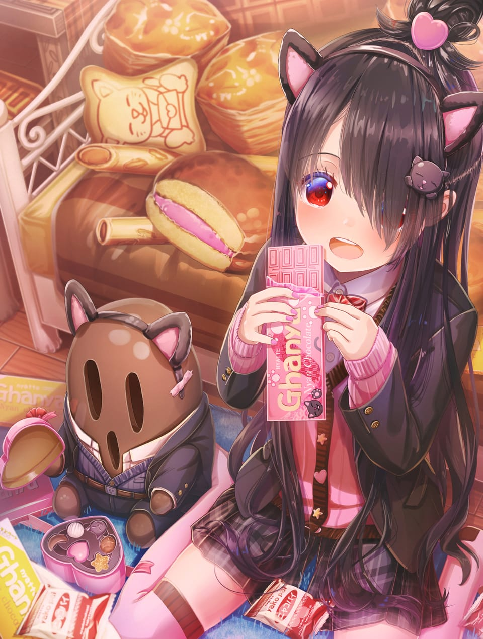 ネコネコニャレンタインギフト Illust of あいうあぼ cat_ears girl 猫の日 original uniform キュロットスカート Valentine