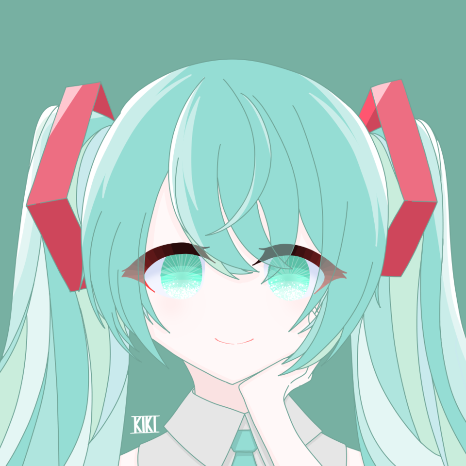 39! Illust of 鬼姫 twin_ponytails green hatsunemiku きらきら VOCALOID