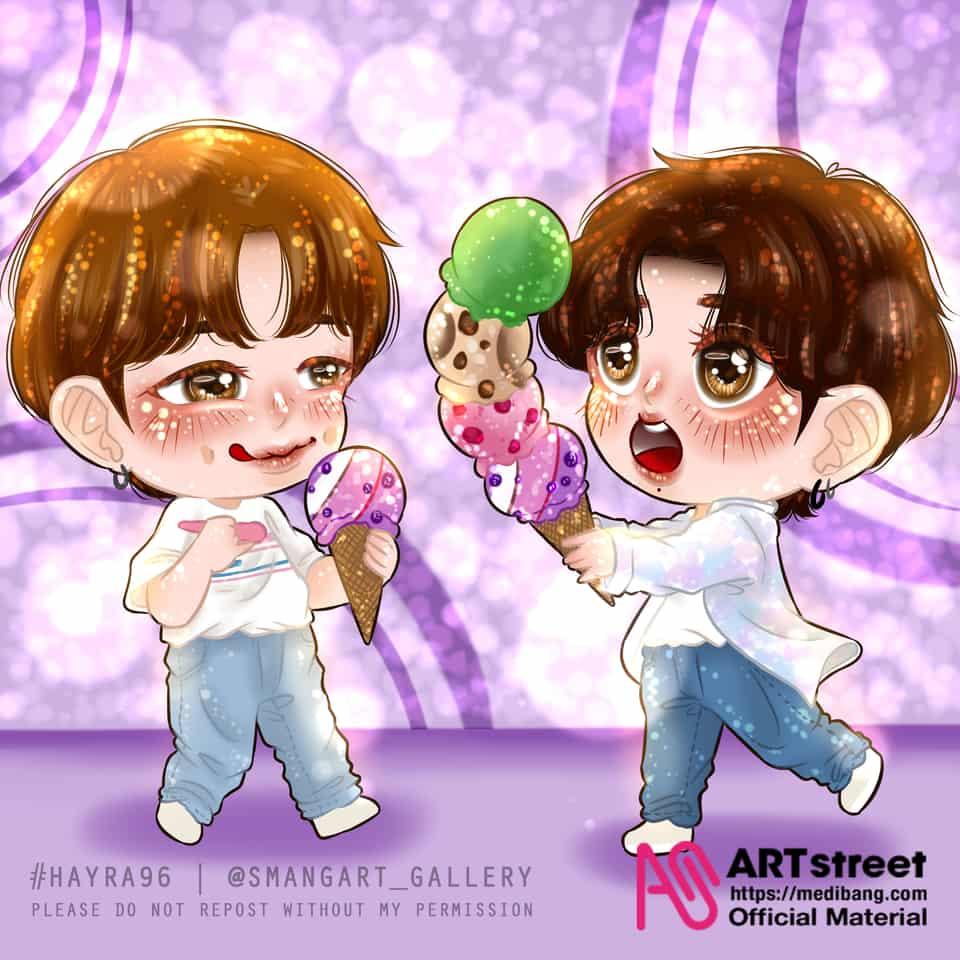 Bora-bora with Nam-Kook  Illust of Hayra96 gothic chibi fanart smangartgallery Jungkook BTS illustration hayra96 RM