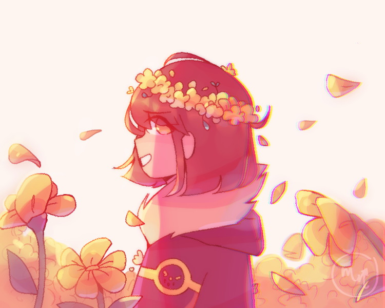 filter testtt Illust of MochiiNiko April2021_Flower yellow fanart Frisk undertale digital aesthetic flower