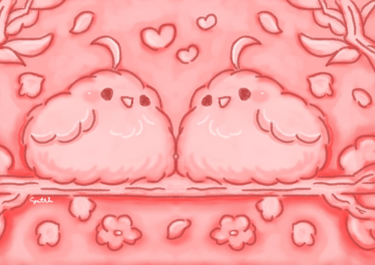 love birds Illust of 亞 May2021_Monochrome art kawaii illustration manga chibi anime pink oc cute original