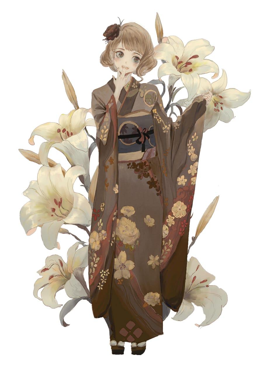 和服花少女 Illust of 梦茶DTEA girl Japanese_style cute illustration kimono flower art