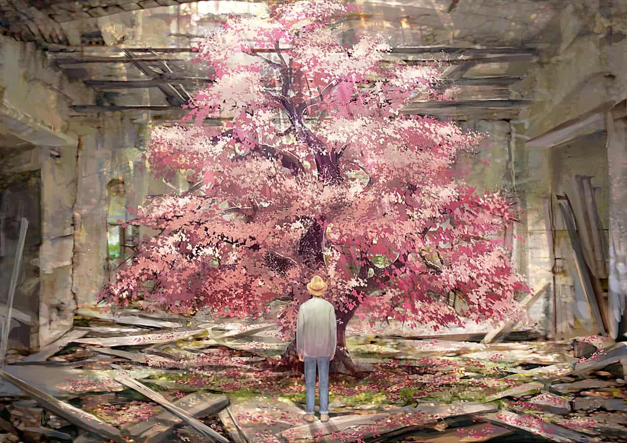 Illust of 黑猫 春 ruins 古木 日差し background sakura Strawhat flower
