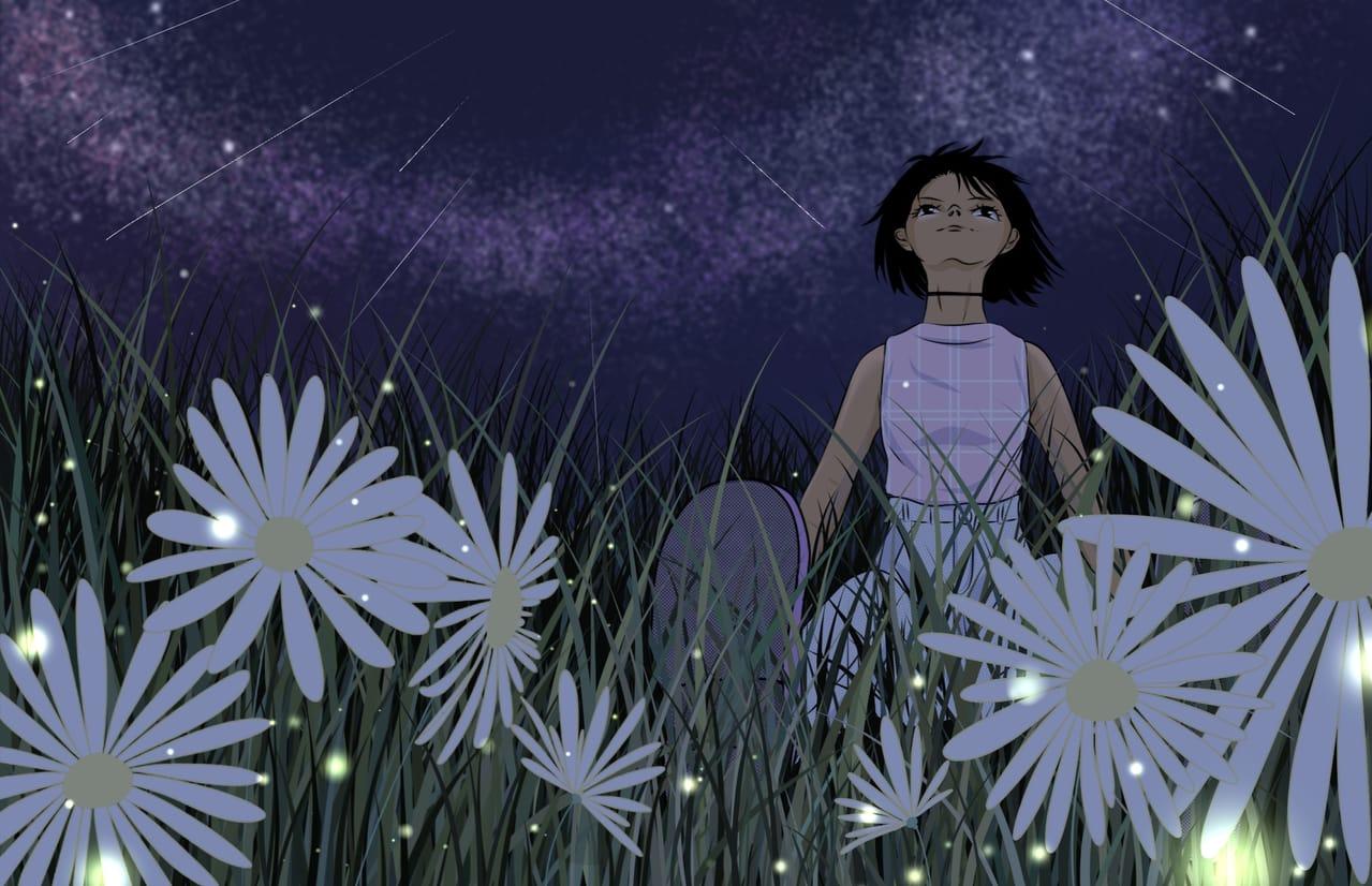 Peace Illust of VioletHoshimi April2021_Flower game Fingerpaint sky digitalpainting galaxy medibangpaint illustration nightsky star black