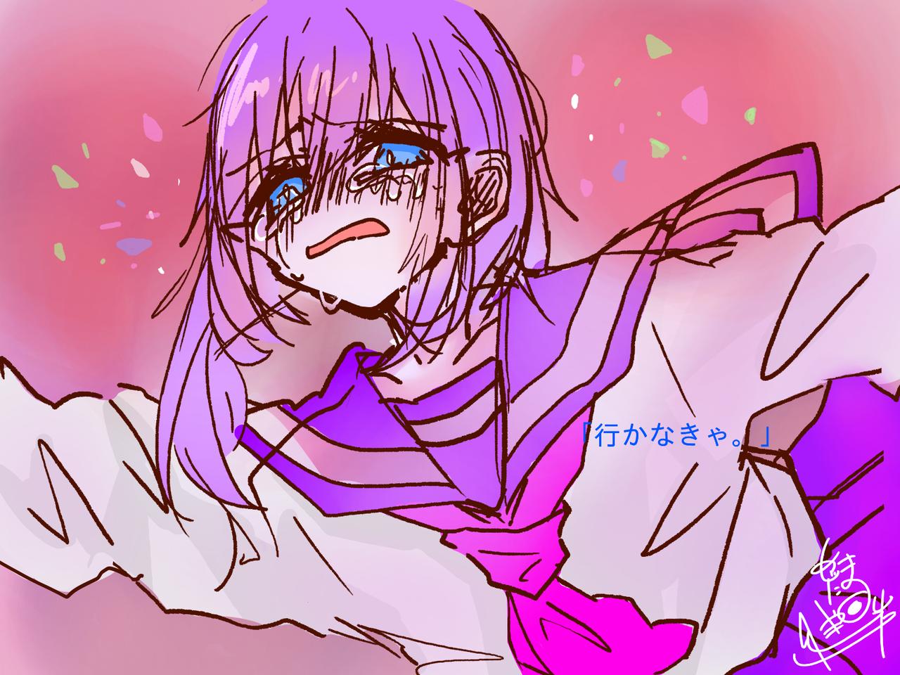 『抜け出せ。』 Illust of めだまやき#中2病 digital angel purple oc pink sailor_uniform kawaii