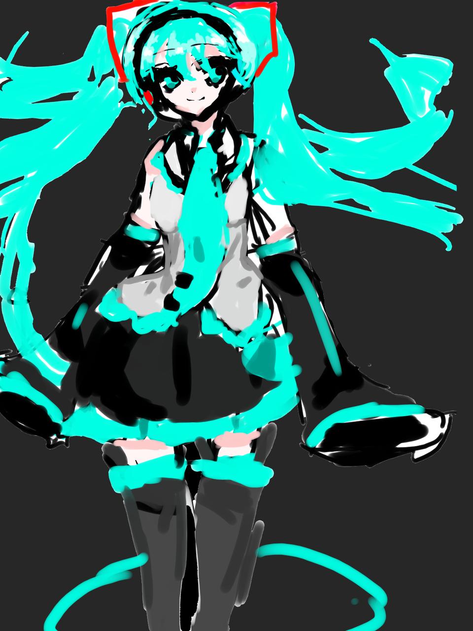 再投稿です Illust of さくらんぼ兎 息抜き カラーイラスト かっこいい doodle hatsunemiku digital 水色