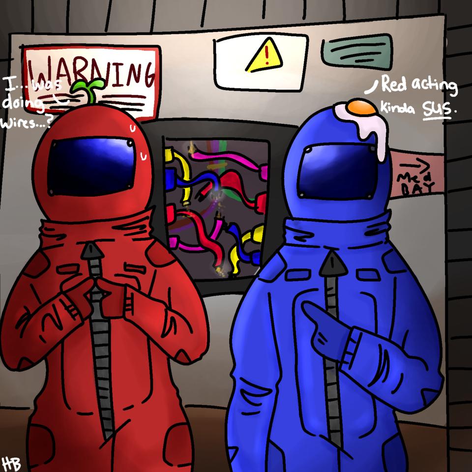 Red acting kinda sus... Illust of honeybun illustration blue Imposter medibangpaint space AmongUs red
