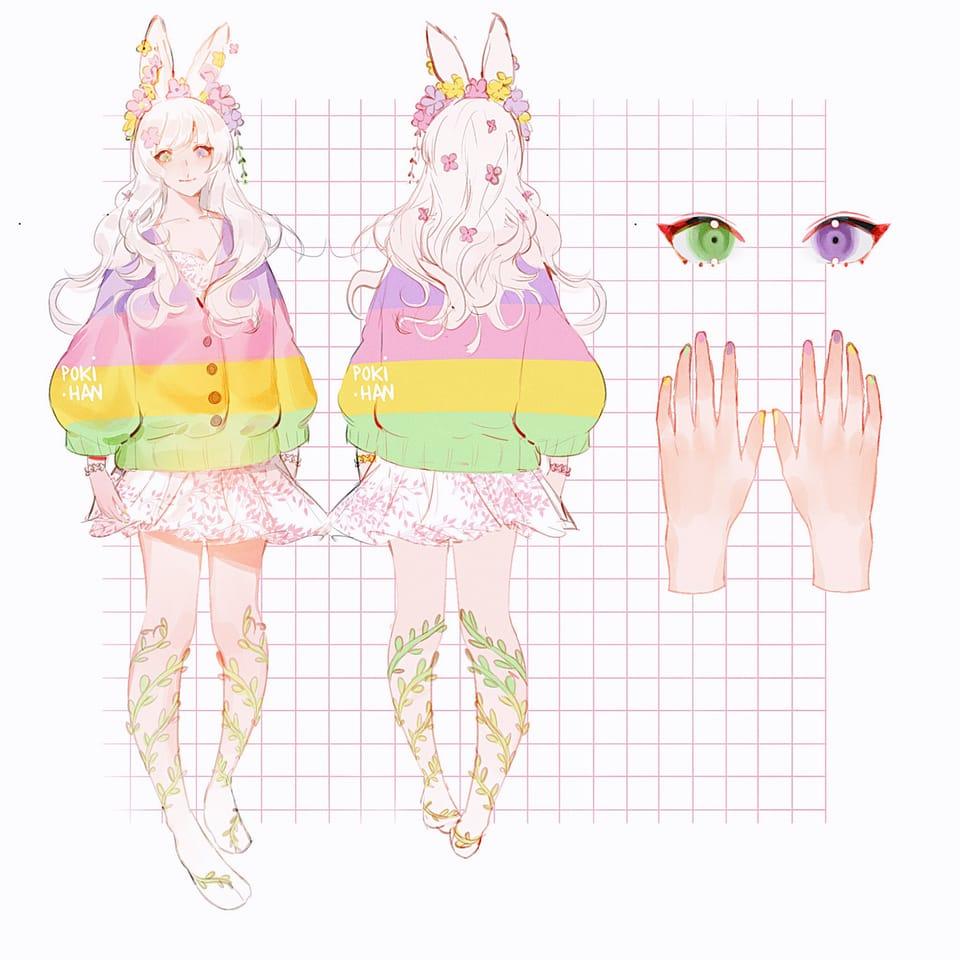 clover  Illust of poki.han oc bunnyears painting bunnygirl flowers kawaii anime ocart digitalpainting bunny