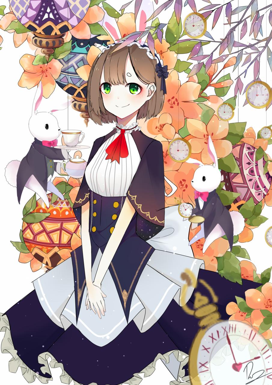Teatime Illust of _78 Original_Illustration_Contest illustration girl tea medibang original rabbit flower cute