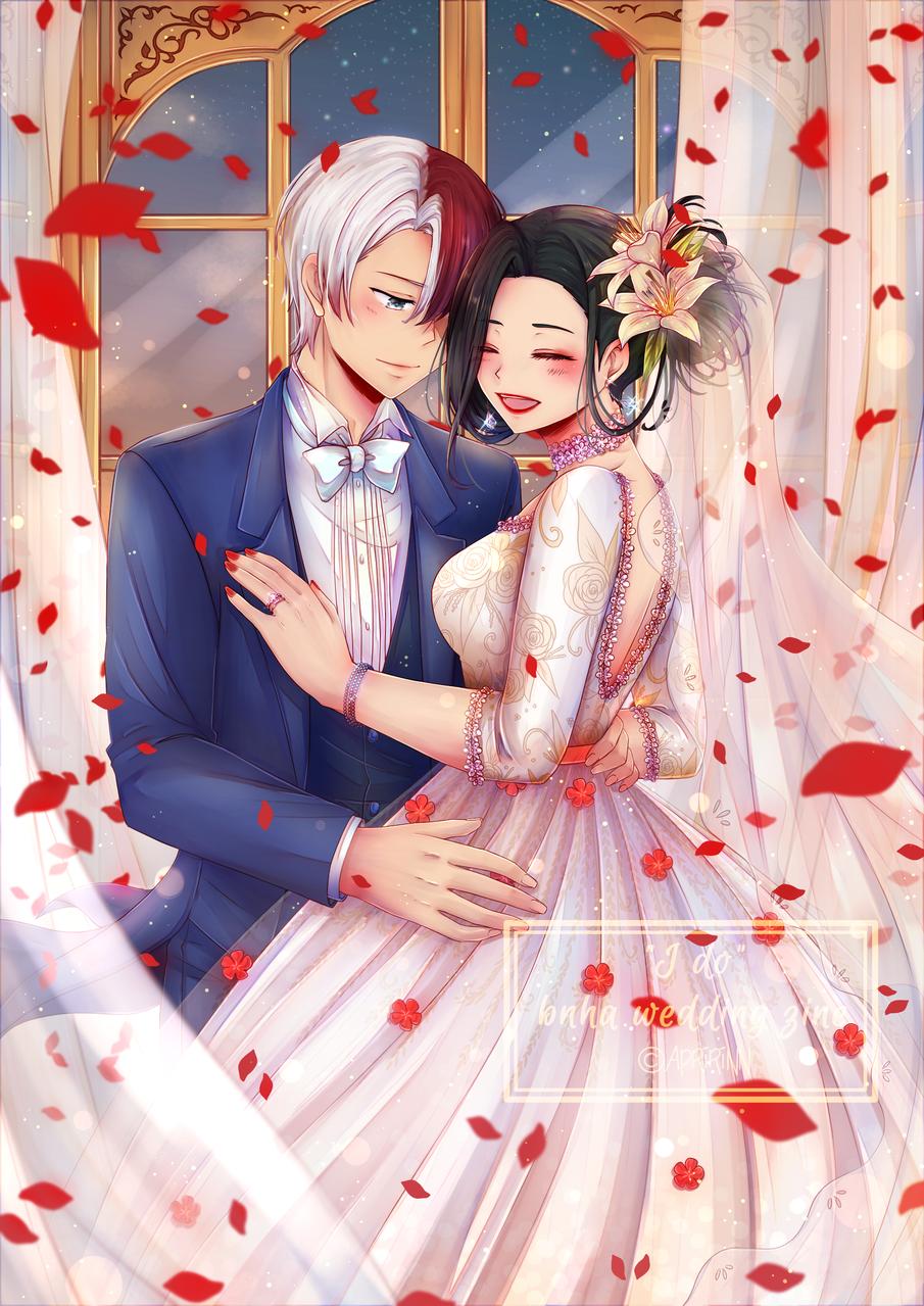 TodoMomo wedding!! Illust of Apririnn (Onigiri) ARTstreet_Ranking couple Yaoyorozumomo girl Shoto_Todoroki guy dress wedding petals MyHeroAcademia Happy