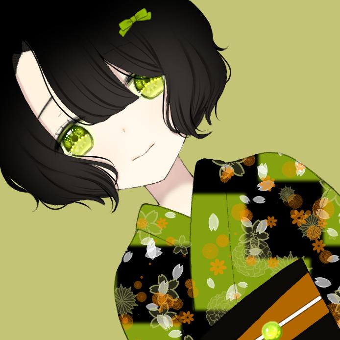 Illust of Ruki oc girl ribbon 黒髪 yukata