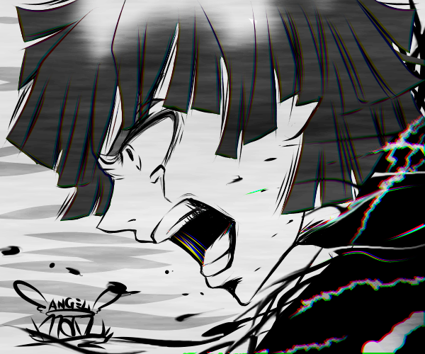 負けないっ!!   ( Not lose !! ) Illust of Manu boy illustration AgatsumaZenitsu monochrome digital KimetsunoYaiba