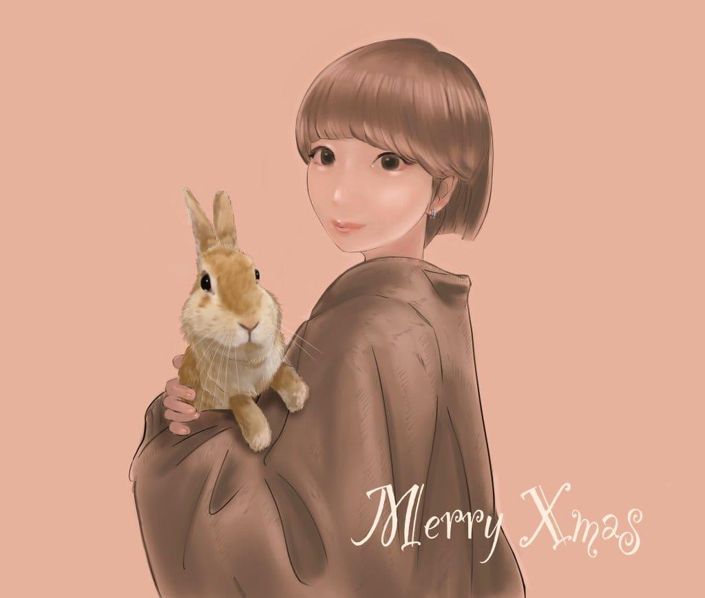 美女とウサギさん Illust of まころん☆ 美少女 似顔絵 Christmas oc イラスト好きな人と繋がりたい