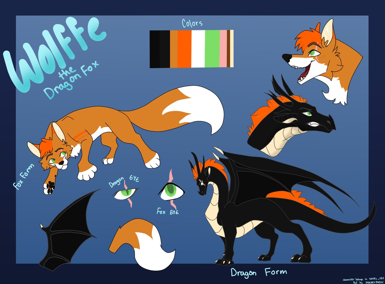 Wolffe's Ref Sheet  Illust of Squeaky Plastic medibangpaint oc dragon Wolffe friend furry gift fox