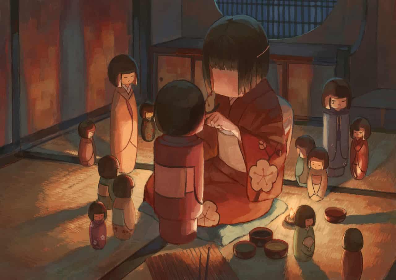 芥子少女未完成 Illust of OTHERS Kyoto_Award2020_illustration woman kimono red girl 芥子