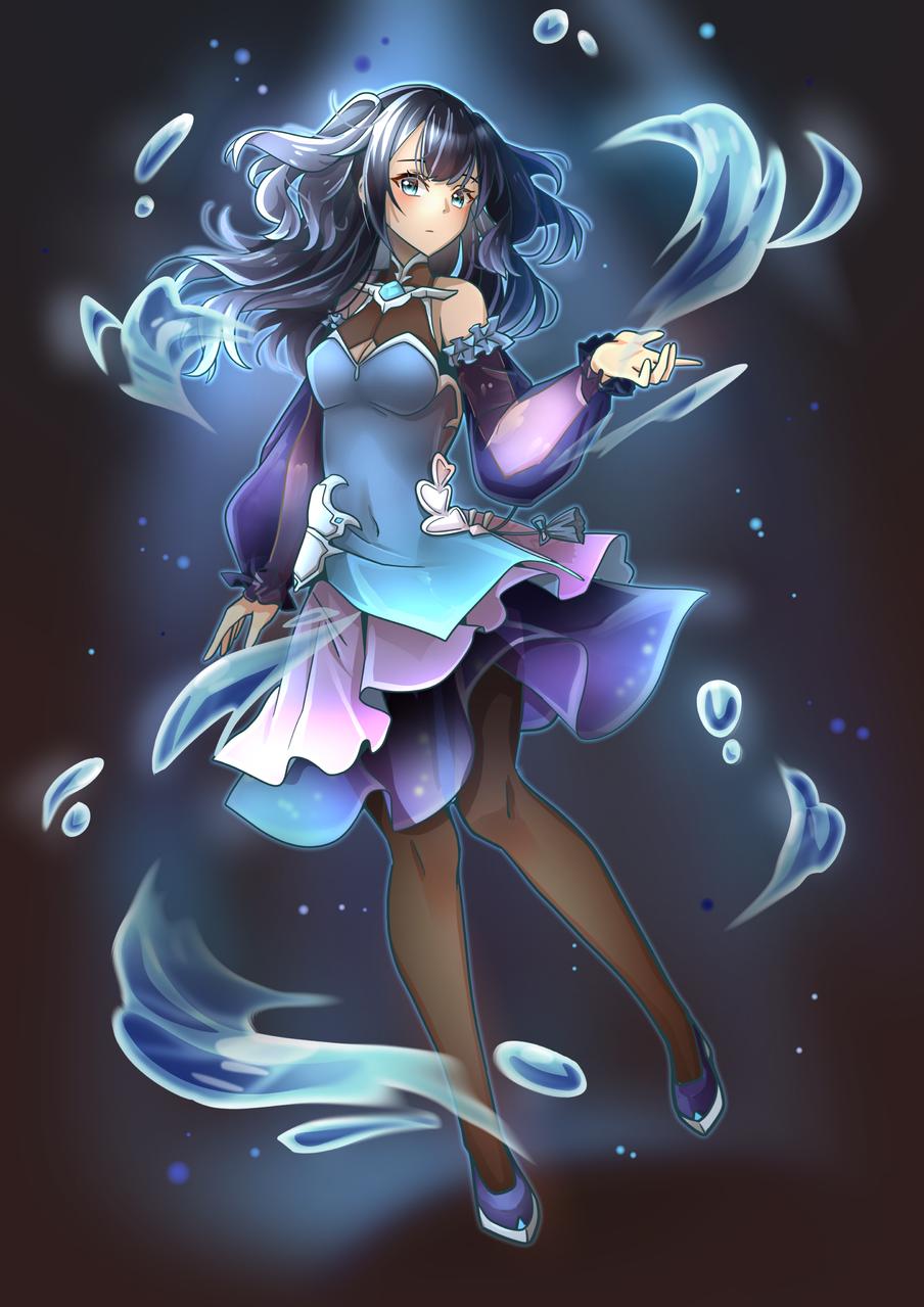 water girl Illust of Akira Luca illustration Originalart girl longhair oc cute drawing lighting water digital