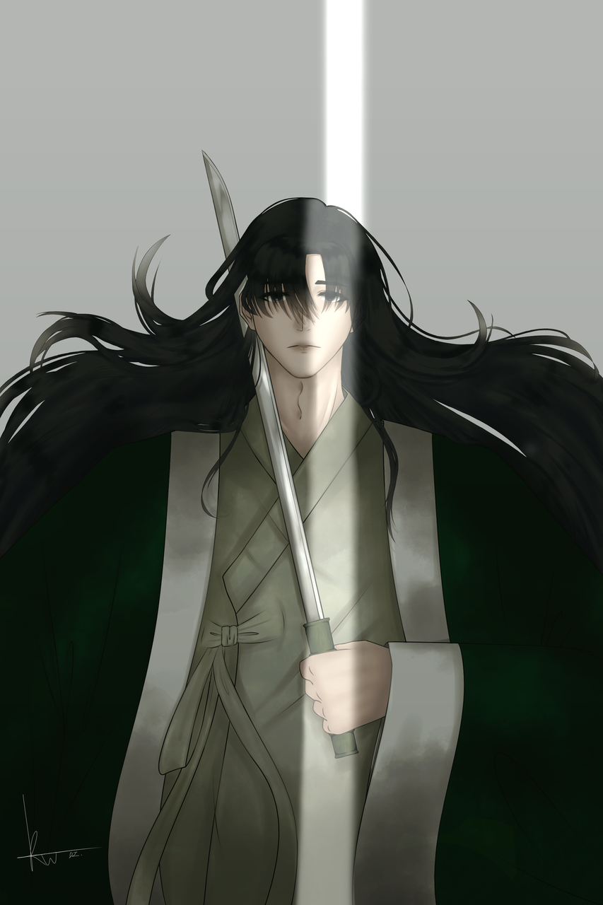 💧 Illust of Rowan(로완) water 반실사 boy 사극 Korean 빛 black Rowan 칼 한복