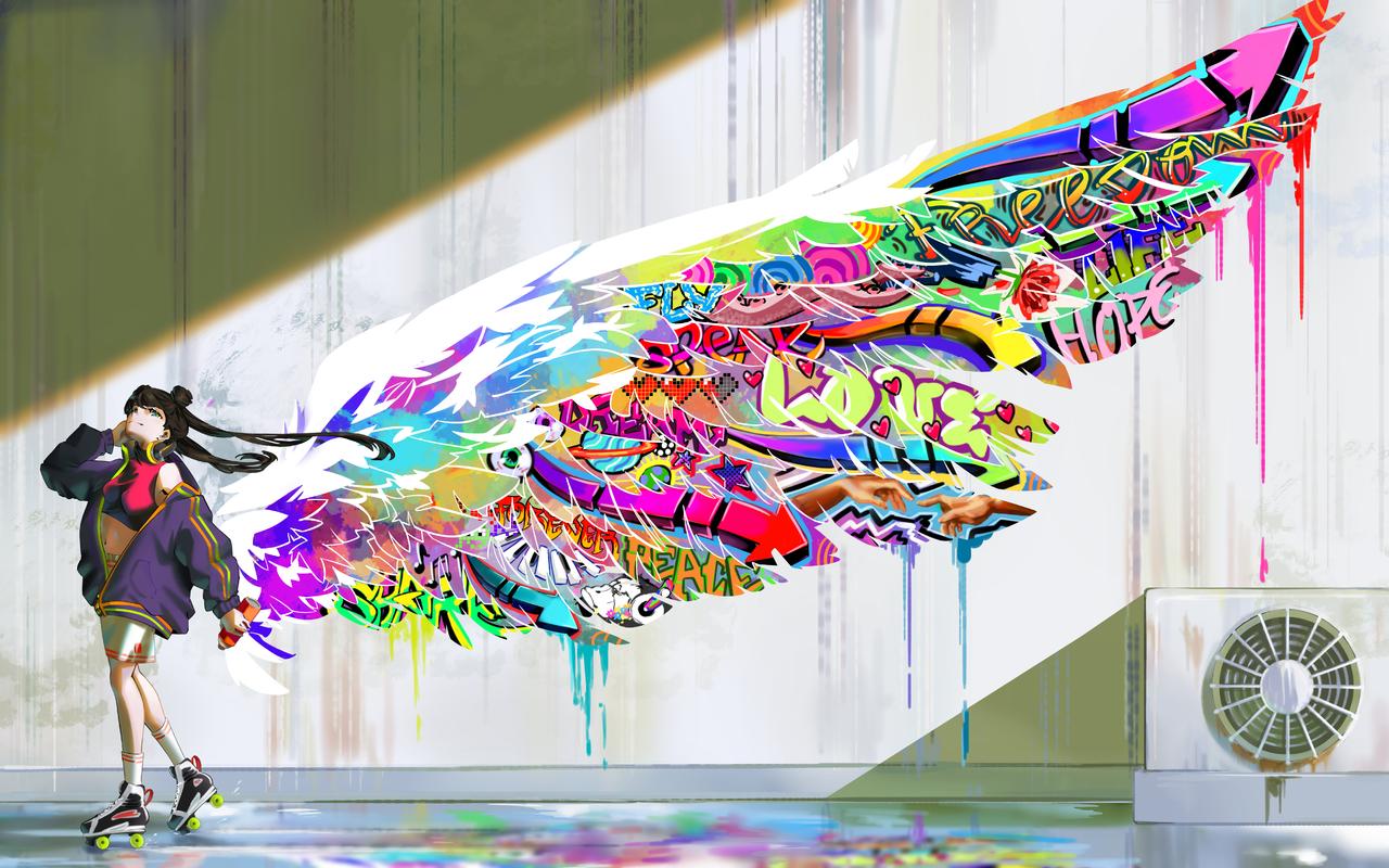 Freedom Illust of Vivi June2020_Contest:Street_Art streetart wings colorful