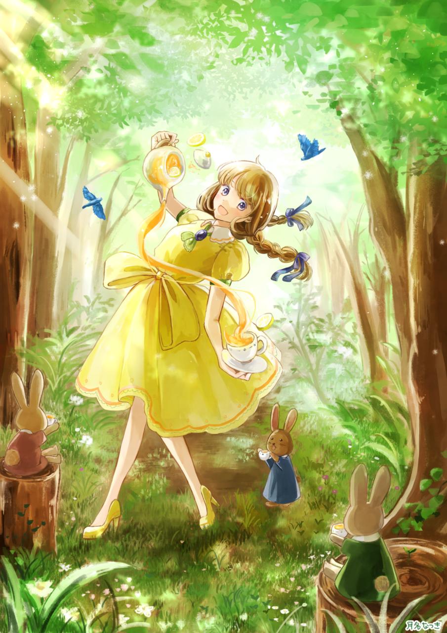 森とレモンティー Illust of 月名なつき original girl レモンティー rabbit