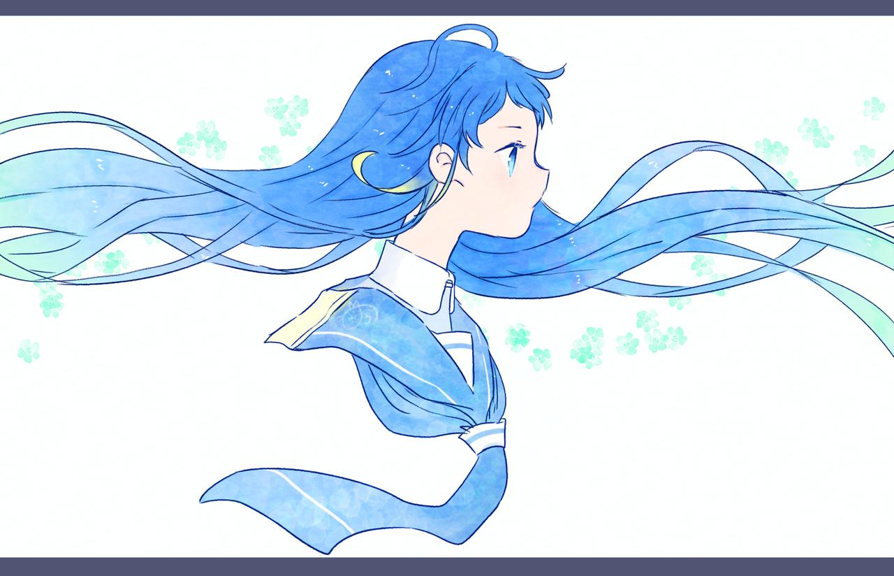風になびく Illust of nora KantaiCollection 横顔 五月雨 medibangpaint blue longhair