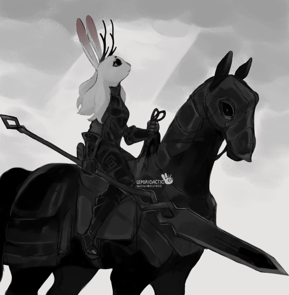 no land beyond the Serpent's seven coils Illust of Leporidactic black rabbit jackalope mixedmedia bunny knight armored Horse gray
