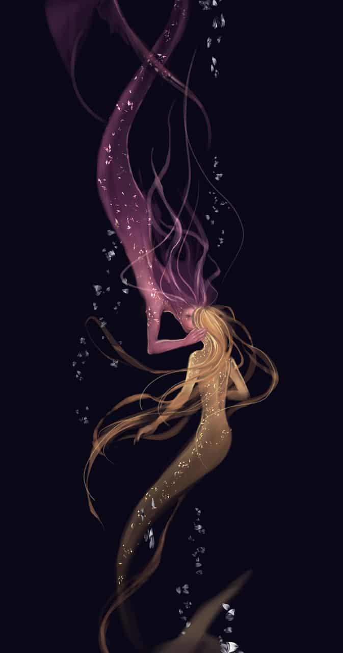 吻 Illust of 黑猫 BL fantasy original purple oc medibangpaint mermaid yellow