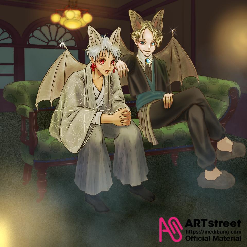 Secret Eyes Illust of FJ tracedrawing3rd boy illustration コウモリ oc Trace&Draw【Official】 animal_ears blonde white_hair Halloween