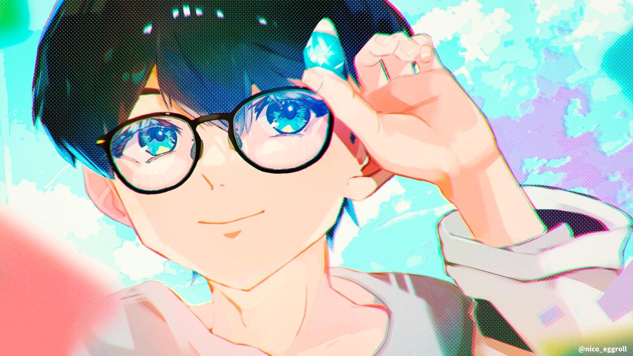 ˚✩☪︎⋆ Illust of eggroll☆ original glasses boy illustration ibispaint