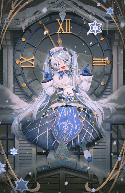 snowmiku2021 Illust of lsu rabbit girl clock white VOCALOID fanart 雪ミク snow illustration