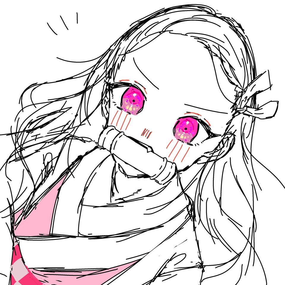 ねづk Illust of OHTEAOH🔫 doodle girl KimetsunoYaiba pink KamadoNezuko