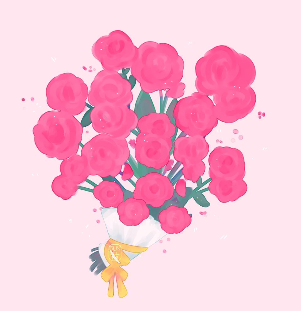 🌹🌹🌹 Illust of sunflemi flowers doodle MyArt practice