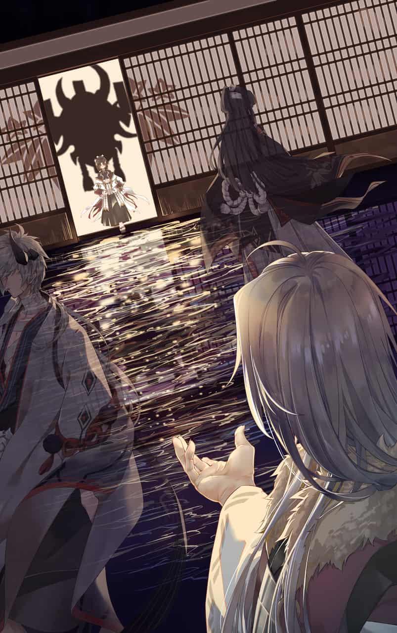 迎接 Illust of 渊目-ritsu digital painting 源赖光 Onmyouji illustration 光切 鬼切