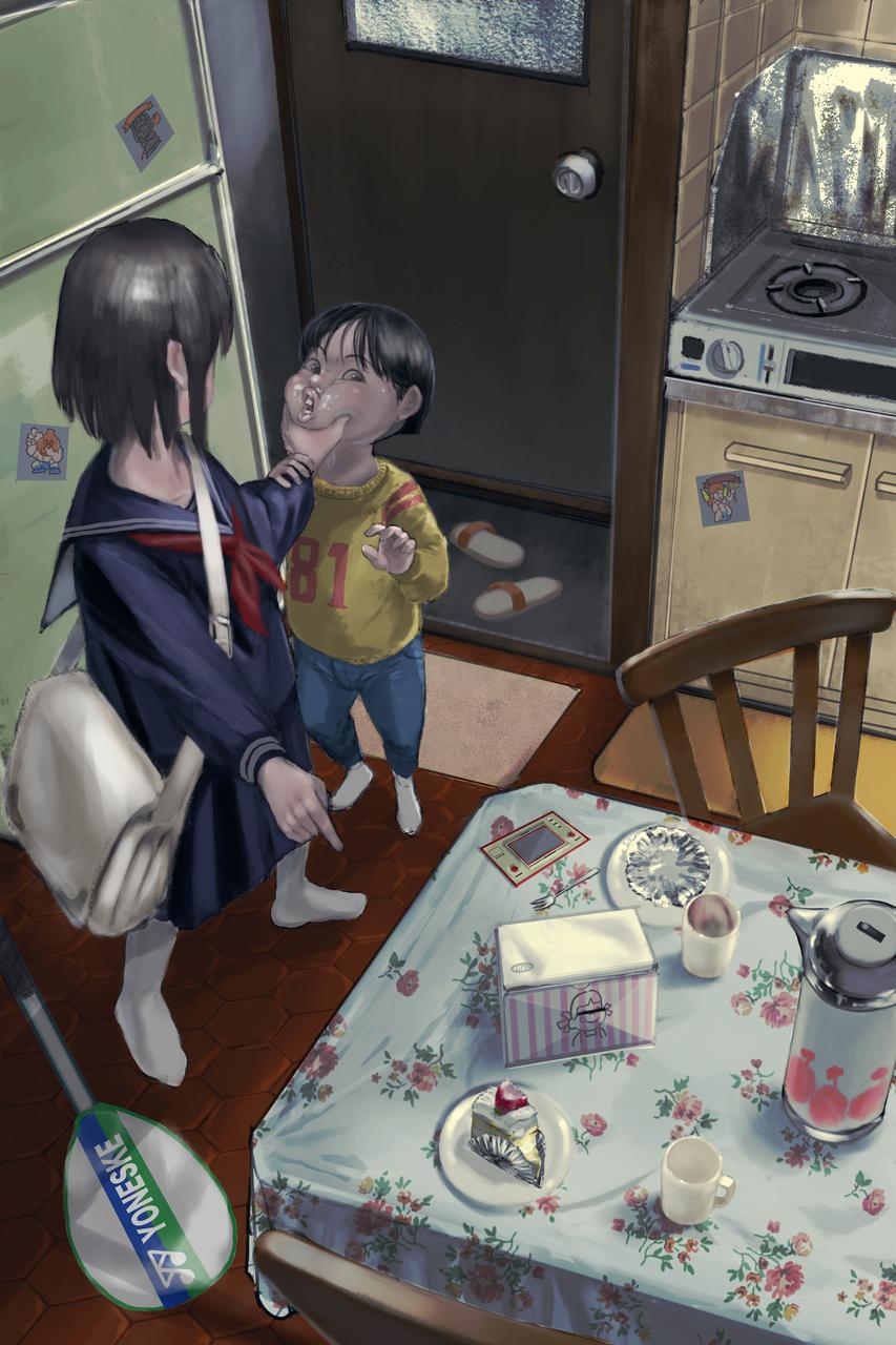おやつ Illust of com girl レトロ 男の子イラスト oc uniform 昭和 scenery art