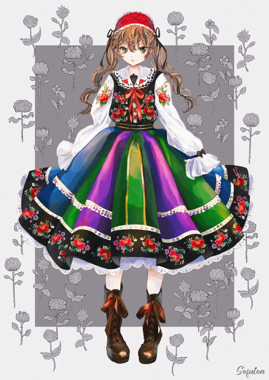 ドレス Illust of 画々市 女の子イラスト くせ毛 ethniccostume dress