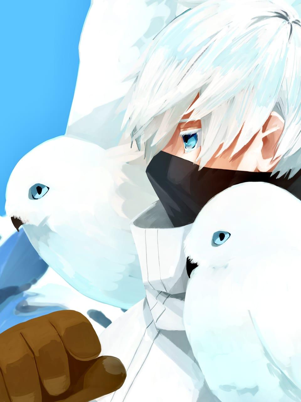仲間と共に Illust of あばれるあはれ blueeyes blue まつげ white_hair snow フクロウ