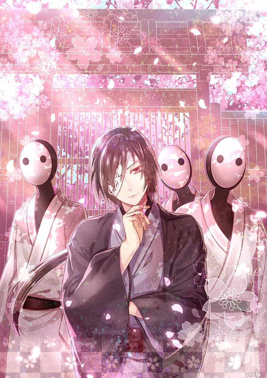 桜的場 Illust of 兎彩 Natsume'sBookofFriends Japanese_style 的場静司 male sakura longhair