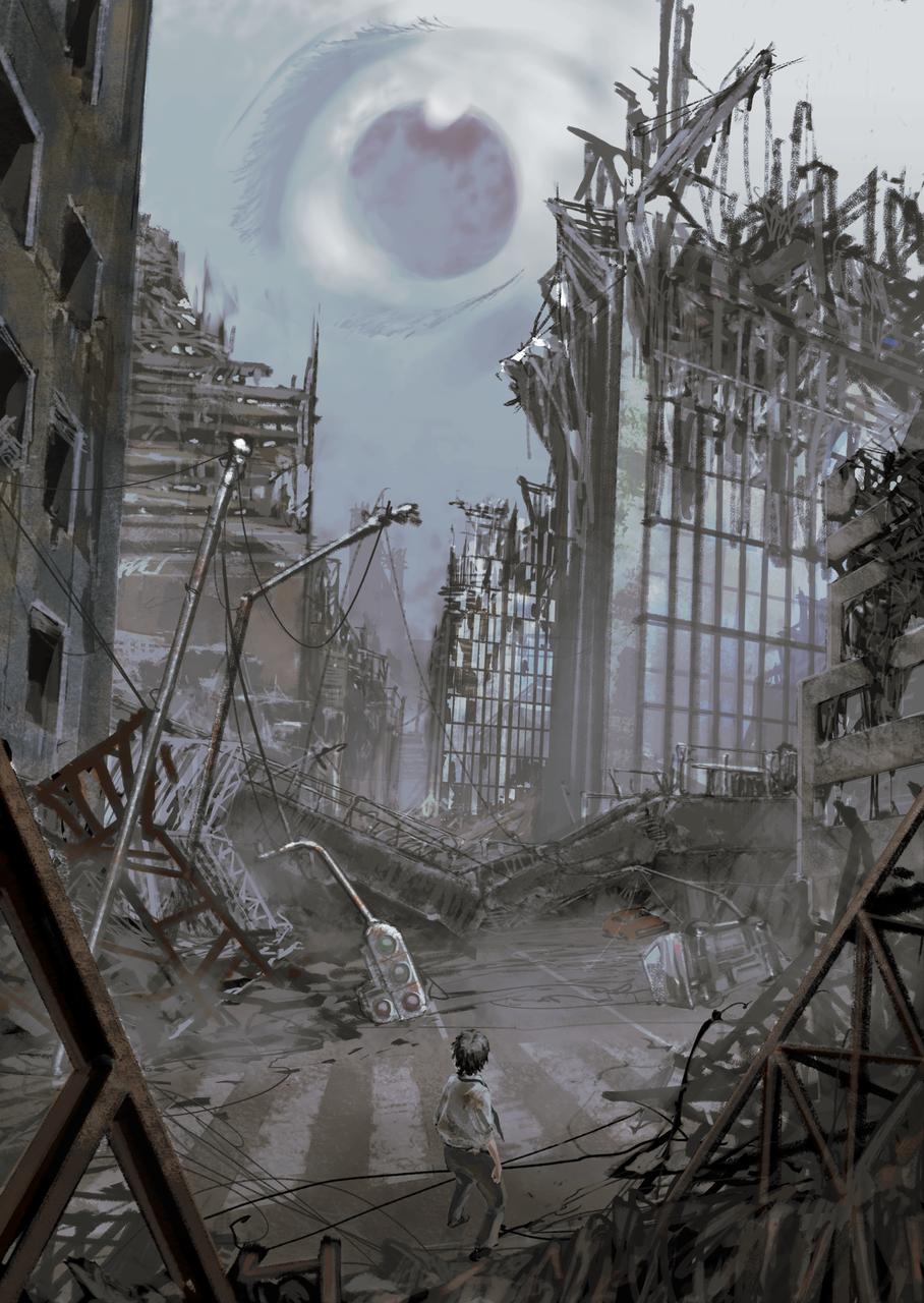 仕事絵 Illust of com sci-fi fantasy ruins 小説 original 宣伝 都市 風景画 illustration 仕事絵