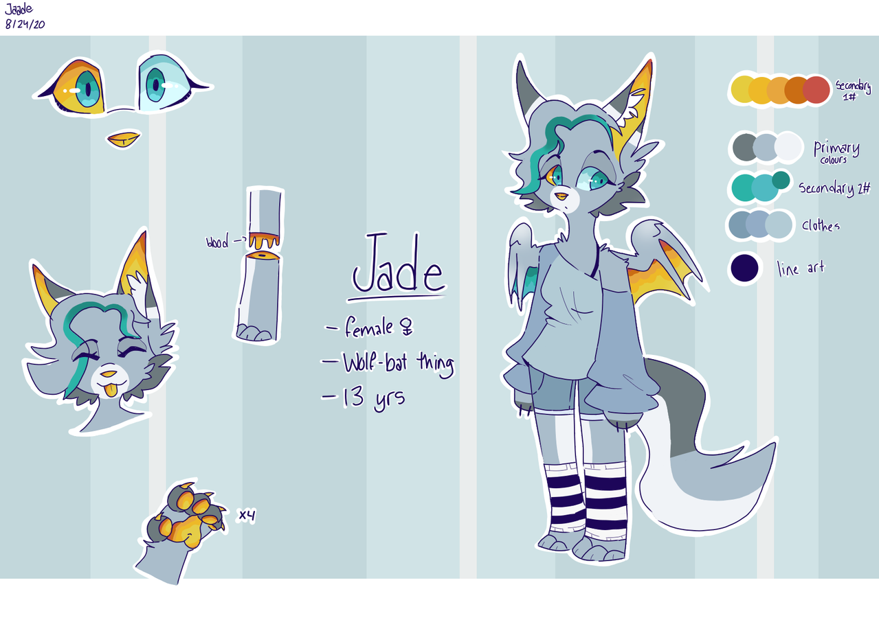 Jade's ref sheet(my fursona) Illust of Jaadead-acc medibangpaint