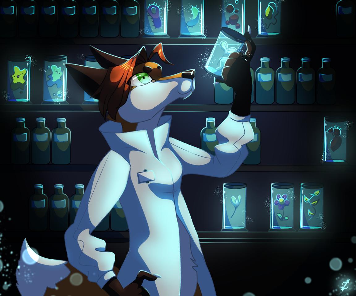 Dr. Fox Illust of Zyvra Dragonfyre medibangpaint oc doctor cute science plant furry laboratory aesthetic glow fox