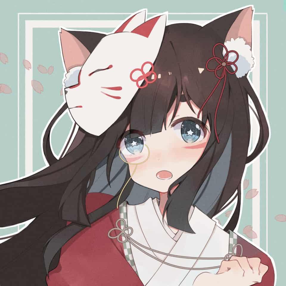 大头稿子 Illust of 時雨 cat_ears Japanese_style 狐面 girl モノクル