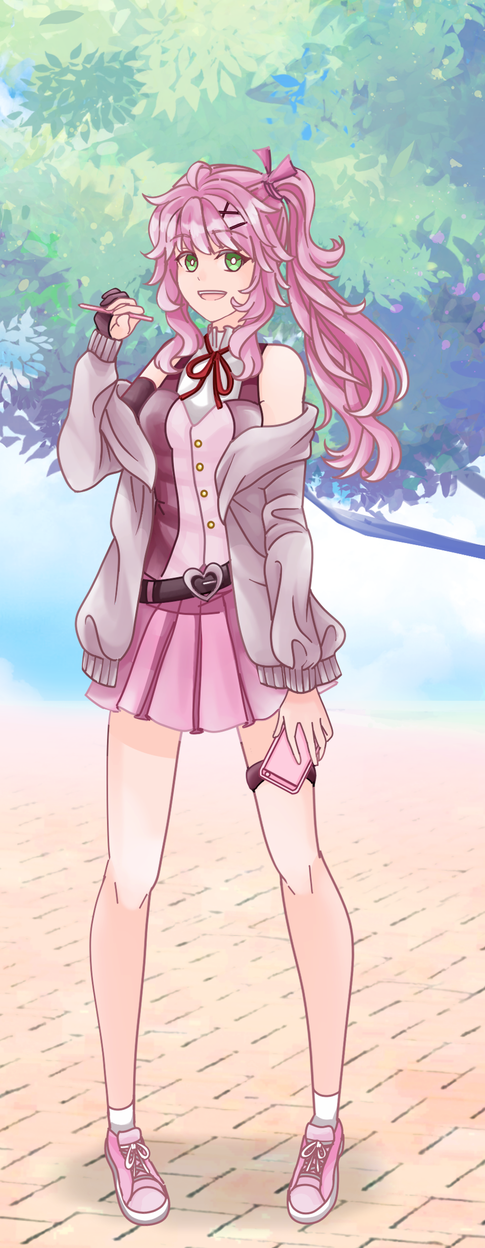 pastel pink girl Illust of Akira Luca PASTEL_SKETCH2020 hoodie girl ponytail cute pink fullbody greeneyes