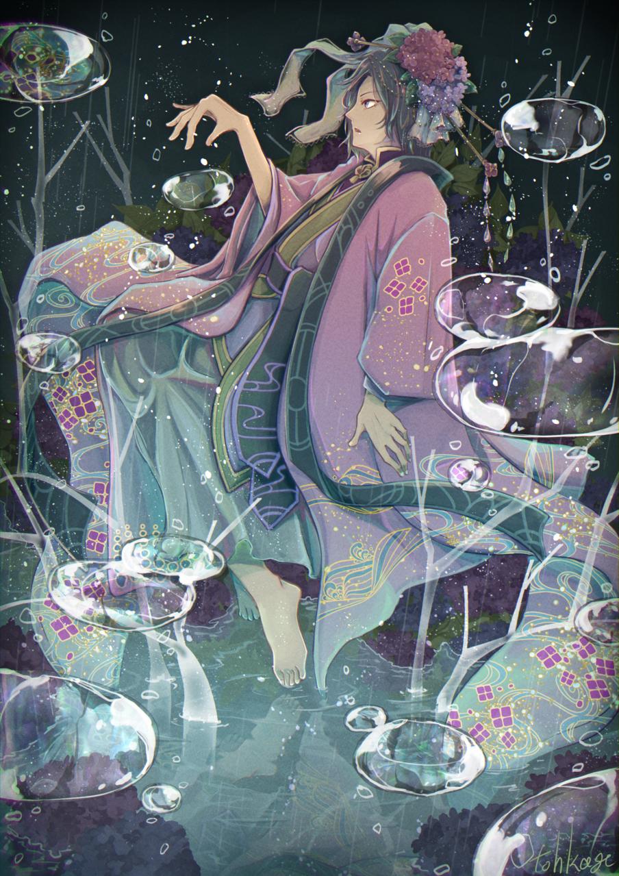 紫陽花と雫 Illust of 遠影 fantasy hydrangea kimono 水面