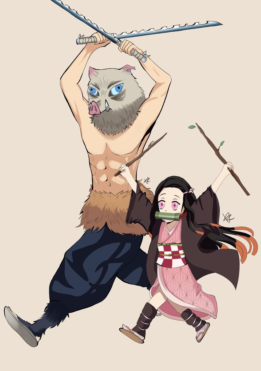 PIG ASSAULT Illust of 海小欧 DemonSlayerFanartContest KamadoNezuko fanart HashibiraInosuke KimetsunoYaiba