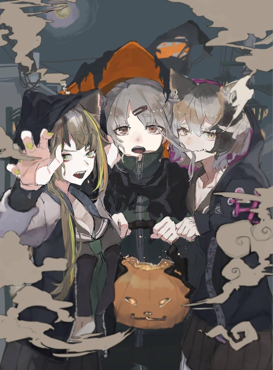 魔女と猫たち Illust of さかしょうどん Halloween illustration original